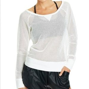 Lorna Jane White Natasha Mesh Sweat Top